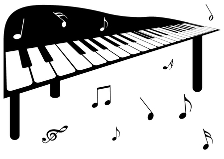sonata: Illustration of a piano and music notes Illustration