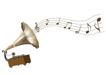 Illustratie van een grungegrammofoon en een score Vector Illustratie