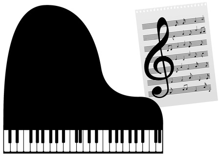 octaves: Illustration of a piano and a music-sheet