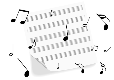 octaves: Illustration of a music-sheet on white background