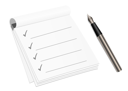 enumerate: Detailed check list and pen isolated on white background Illustration