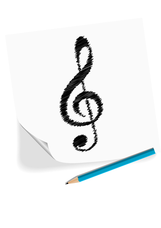 octaves: Illustration of a G clef drawn with a pencil