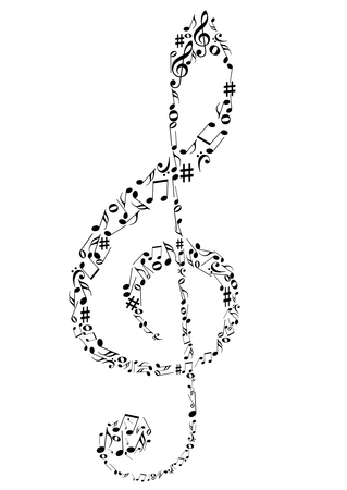 Illustration of a G clef with music notes Vector