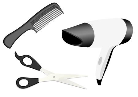 peigne et ciseaux: Objets de style cheveux d�taill�e isol�s sur fond blanc