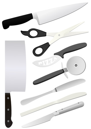 slaughter: Detailed kitchen utensils isolated on white background Illustration