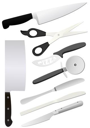 Detailed kitchen utensils isolated on white background Illustration