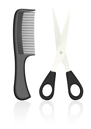 Detailed scissors and comb, isolated on white background Vector