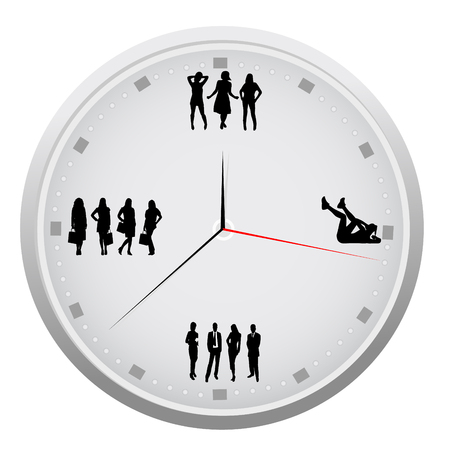 Abstract detailed clock with different activities