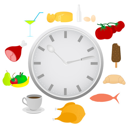lunch time: Abstract detailed clock with food and kitchen utensils