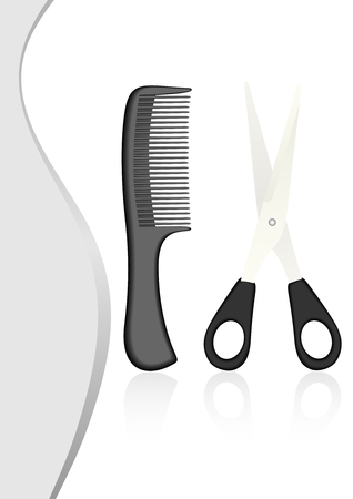 taglio capelli: Illustrazione di forbici e pettine su sfondo curvy