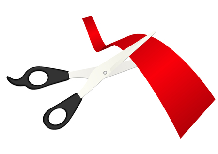 Illustration of detailed scissors cutting the ribbon Vector