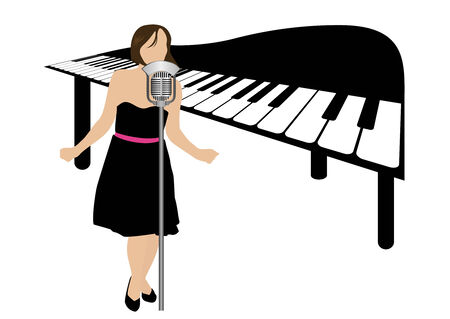 Illustration of a piano and a girl singing Vector