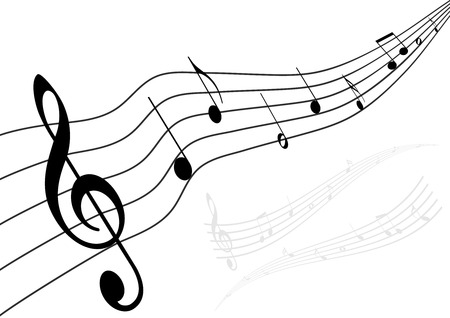 Conceptual music illustration with stave and notes
