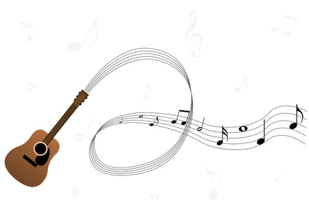 Conceptual music illustration with guitar, stave and notes