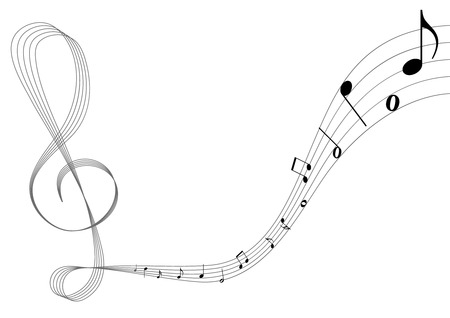 octaves: Conceptual music illustration with stave and notes