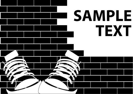 Illustration of a grunge graffiti on a brick wall Illustration
