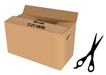 Illustration of a cardboard boxes with cut lines and a scissors Vector