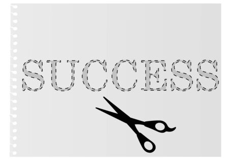 Illustration of the word &quot,success&quot, template and a scissors Stock Vector - 6923313