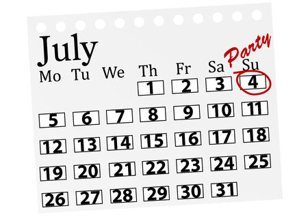Illustration of a calendar with 4th July marked Illustration