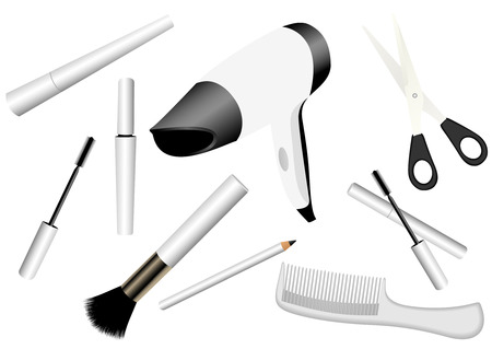 drier: Illustration of make-up accessories isolated on white Illustration
