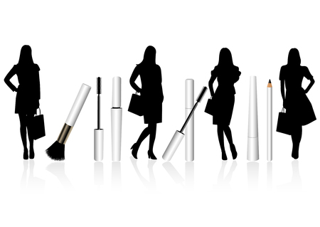 Woman silhouette and make-up items