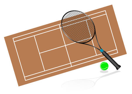 Tennis illustration with rackets and terrain Vector