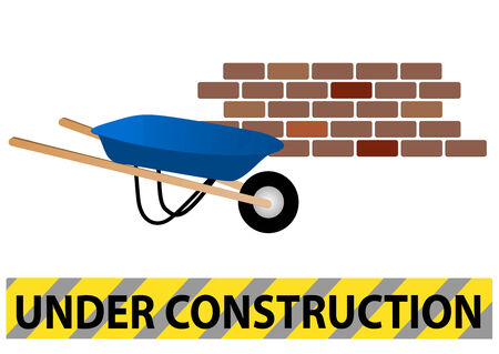 Under construction site with wheelbarrow and wall Vector