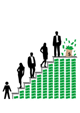 Conceptual business illustration with success ladder Stock Vector - 7001359