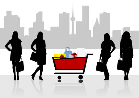 woman shopping cart: Sale illustration with women shapes and shopping cart