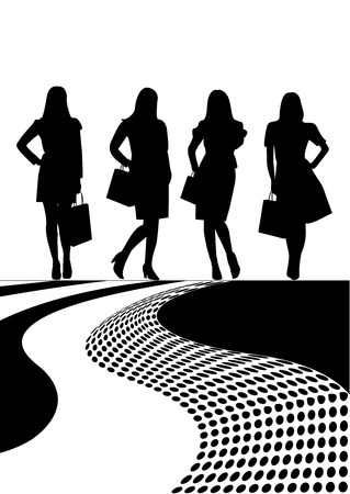 mall shopping: Conceptual sale illustration with women shapes