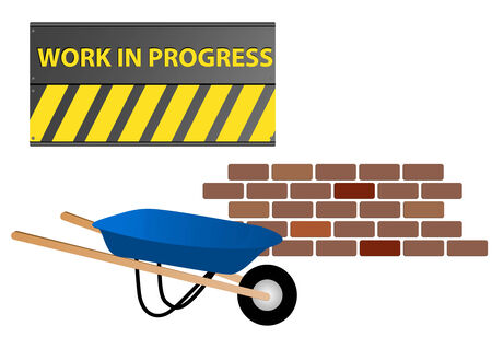 Work in progress site with wheelbarrow and wall Vector