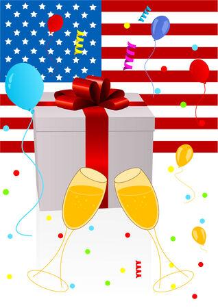 Background illustration of celebrating 4th July Vector