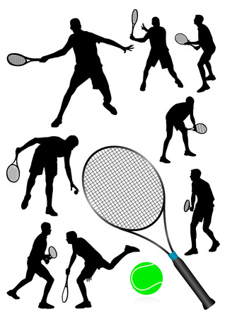 Detailed  tennis players silhouettes isolated on white Vector