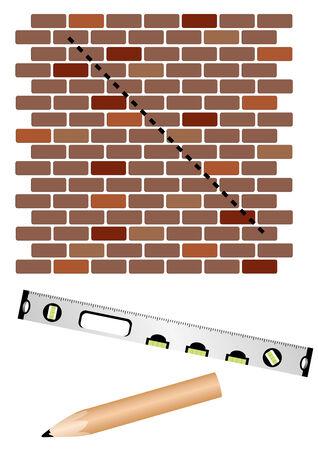 stone work: En el sitio de la construcci�n con el nivel y la pared