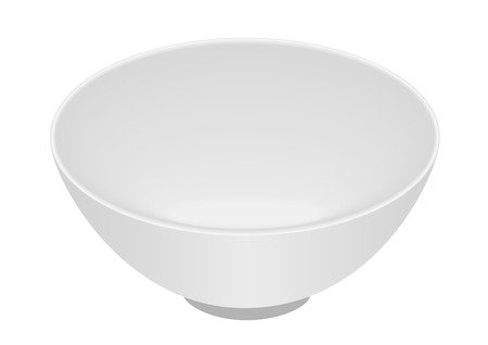cereal bowl: White bowl isolated on white background Illustration