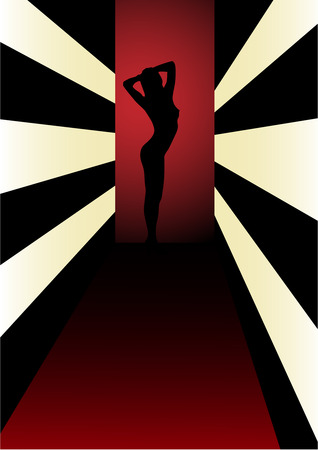 Sexy woman silhouette in club Illustration