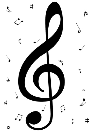 octaves: Illustration of a G clef with music notes Illustration