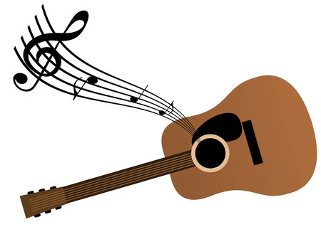 Music background with guitar and notes