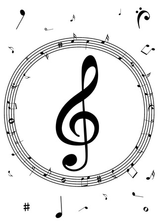 Illustration of a stave with music notes on white background