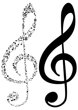 Illustration of tow G clef and music notes Stock Vector - 7151010