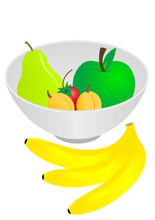 Illustratie van een kom met fruit