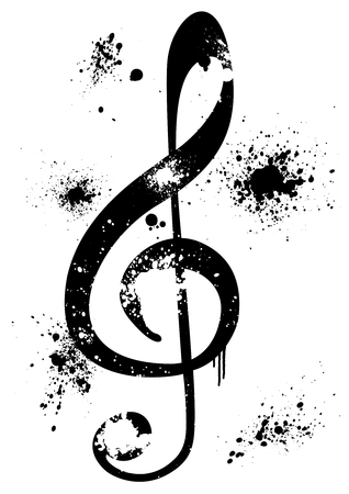 octaves: Abstract illustration of a grunge G clef