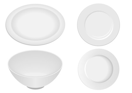 Kitchen ware elements isolated on white background