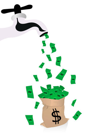 waste money: Conceptual money illustration with spigot Illustration