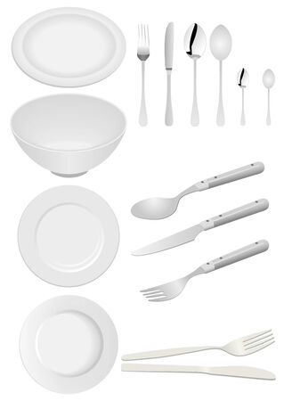dinning table: Illustration of kitchen ware isolated on white Illustration
