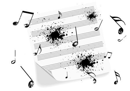 Illustration of a grunge music-sheet on white background Illustration