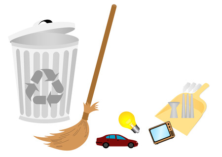 Conceptual recycle illustration with broom Vector
