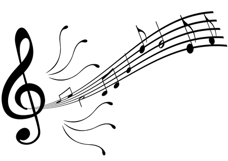 Illustration of a G clef with stave and swirls