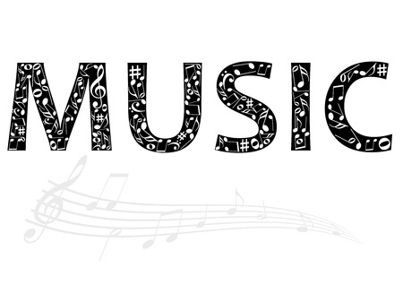 Abstract illustration of the music word with music notes Vector