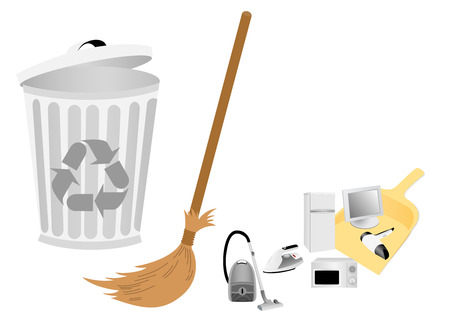 electric broom: Conceptual recycle illustration with broom